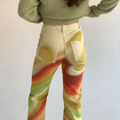 COLOR STRIPED PRINT STRAIGHT PANTS