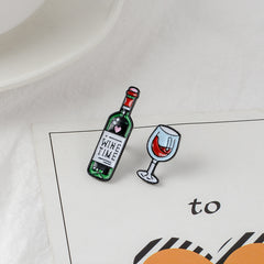 RED WINE AND WINE GLASS BROOCH (SET/2PCS)