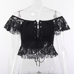 HOLLOW LACE EYELET TIE UP TOP