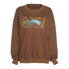 ALASKA MOUNTAIN EMBROIDERED CREW NECK PULLOVER