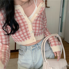 CHIC SWEET PLAID SHORT CARDIGAN