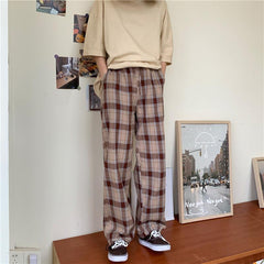 RETRO CHECKED DRAWSTRING TROUSERS
