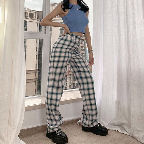 PLAID HIGH WAIST STRAIGHT PANTS