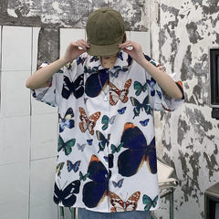 BUTTERFLY PRINT LOOSE SHIRT