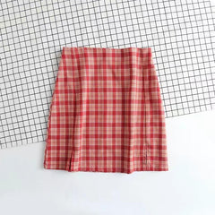 RED PLAID SPLIT SKIRT