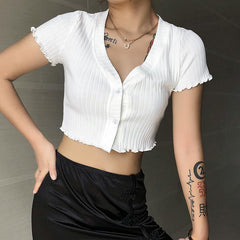 WHITE ROLLED CARDIGAN TOP