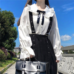 LOLITA BABY COLLAR BOW SHIRT AND A-LINE VEST DRESS SET