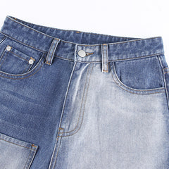 FEATURED STITCHING POCKET STRAIGHT JEANS