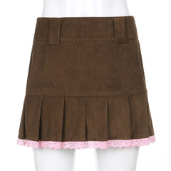 LACE CORDUROY PLEATED SKIRT
