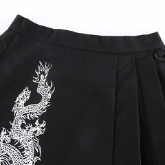 GOTHIC DRAGON PRINT PLEATED SKIRT