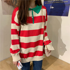 STRIPED POLO COLLAR LONG SLEEVE TOP