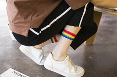RAINBOW STRIPED CYSTAL SOCKS