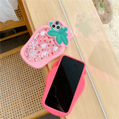 STRAWBERRY QUICKSAND LIQUID SOFT IPHONE CASE (I6-I11 PRO MAX)