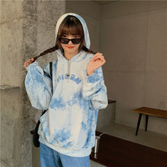BLUE BLOOMING HOODED SWEATSHIRT