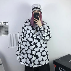 HEART FULL PRINT LONG SLEEVE SHIRT