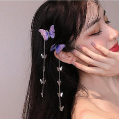 BUTTERFLY CHAIN TASSEL HAIR CLIP (2 PCS)