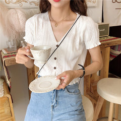 HOLLOW V-NECK KNIT TOP
