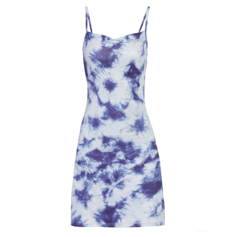 BLUE TIE DYE SLING DRESS