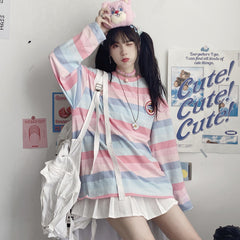 PINK BLUE GRADIENT STRIPE LONG SLEEVE T-SHIRT