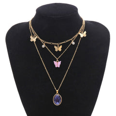 OVAL GEMSTONE BUTTERFLY MICRO-SET NECKLACE