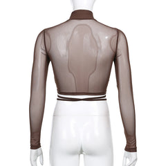 SHEER TURTLENECK RUCHED LONG SLEEVE TOP