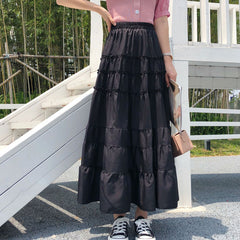 SOLID COLOR MID-LENGTH CAKE SKIRT