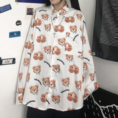 HARAJUKU BEAR PRINT LONG SLEEVE SHIRT