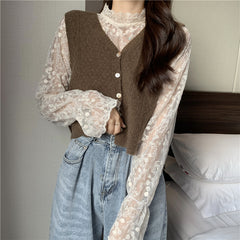 FLOWER LACE MESH LONG SLEEVE TOP AND KNIT VEST SET