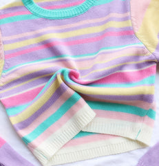 CANDY COLOR STRIPE GLOVES SLEEVES KNIT TOP