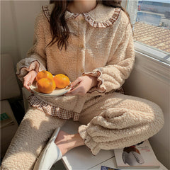COLORBLOCK LACE CHECK LAMB CASHMERE PAJAMA SUIT