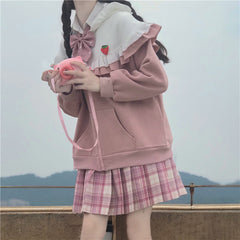 SWEET BOW ZIPPER HOODED SWEATER