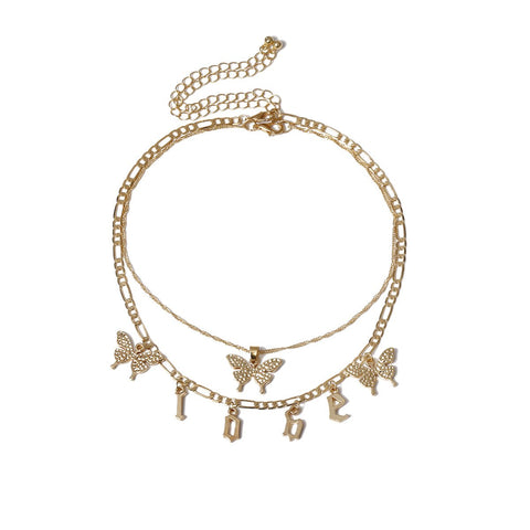 LOVE BUTTERFLY LAYERED NECKLACE