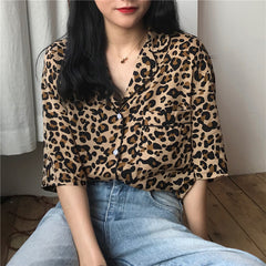 LEOPARD PRINT SHORT SLEEVE SHIRT 202103