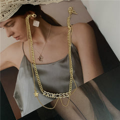 PRINCESS LETTER DOUBLE LAYER NECKLACE