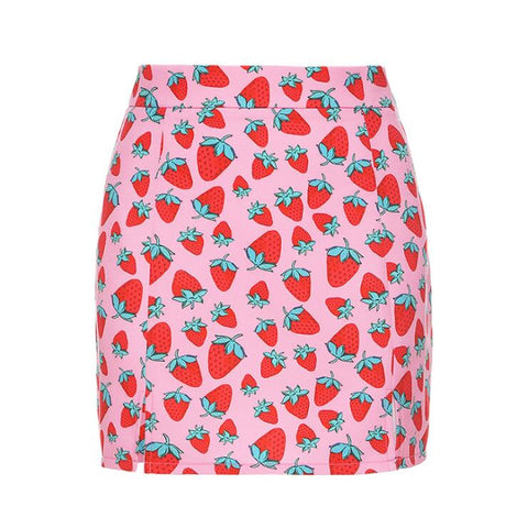 STRAWBERRY PRINT SPLIT MINI SKIRT