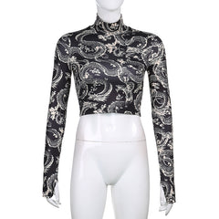 DRAGON TURTLENECK GLOVES SLEEVE TOP