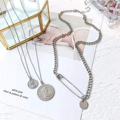 COIN PIN LAYERED NECKLACE