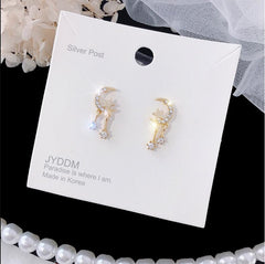ZIRCON STAR MOON STUD EARRINGS