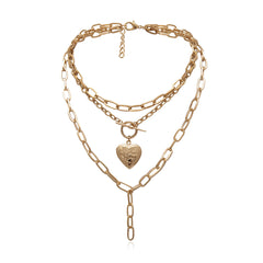 VINTAGE PEACH HEART OPEN OT BUCKLE NECKLACE