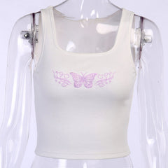PURPLE BUTTERFLY EMBROIDERED TANK TOP