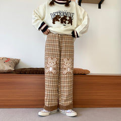 VINTAGE WOOLEN PLAID BEAR EMBROIDERED STRAIGHT PANTS