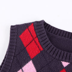 CONTRAST DIAMOND CHECK KNIT VEST