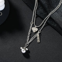 MICKEY MOUSE HEART PENDANT DOUBLE NECKLACE