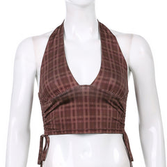 BROWN RUCHED PLAID HALTER VEST