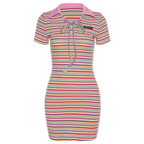 RAINBOW STRIPE LAPEL HIP DRESS