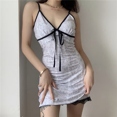 SNAKE LACE SLIP DRESS