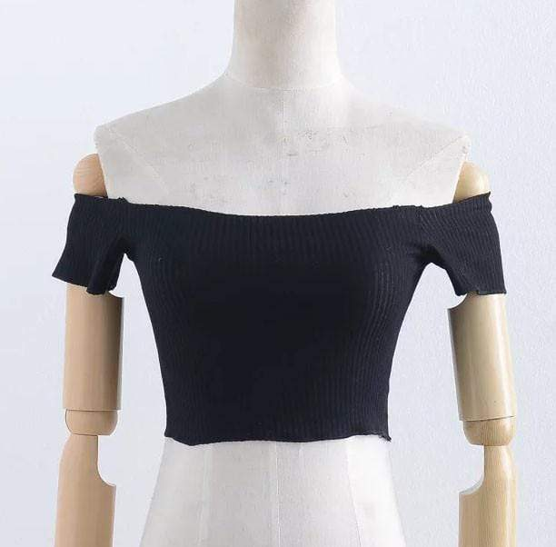 SHOULDERLESS KNITTED CROP TOP