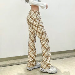 RETRO CHECK STRAIGHT CASUAL PANTS