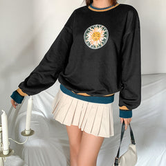 RING SUN PRINT CREW NECK PULLOVER SWEATER