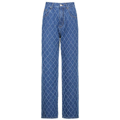 RHOMBUS CHECK RAW EDGE STRAIGHT JEANS